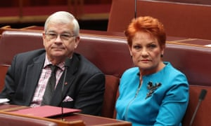 Brian Burston with Pauline Hanson before he left One Nation. He was involved in a clash with Hanson adviser James Ashby after accusing her of making unwanted advances 'going back decades'.