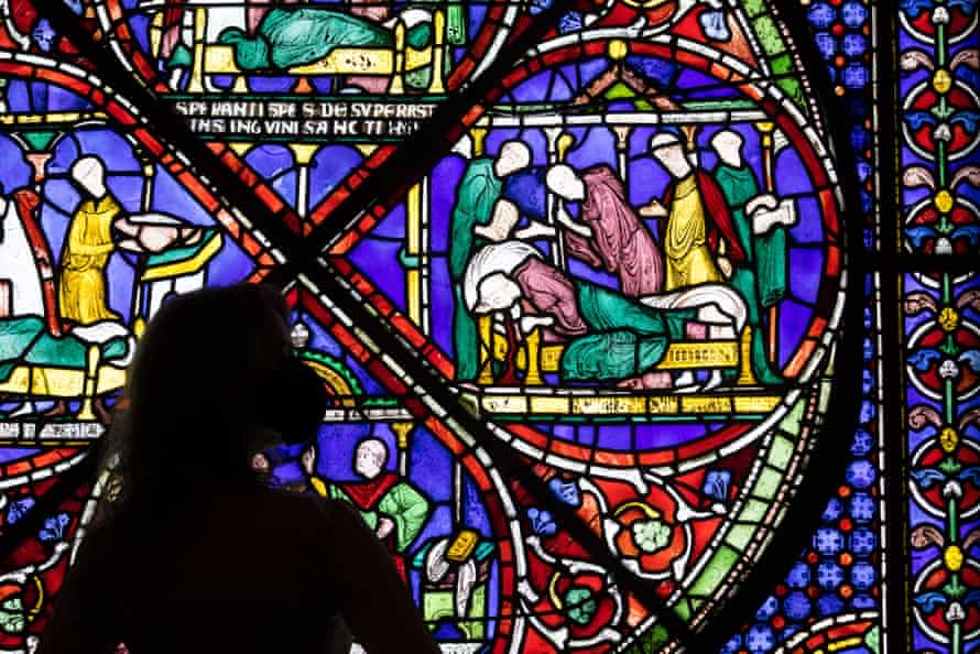On loan from Canterbury cathedral … an 800-year-old stained glass window showing the murder.