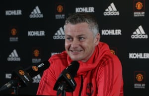 Solskjær during his Friday press conference.