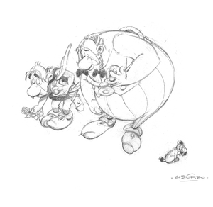 A sketch of Asterix and Obelix by Uderzo
