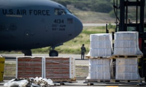 Food and medicine aid for Venezuela is unloaded from a US Air Force C-17 aircraft in Cúcuta, Colombia.