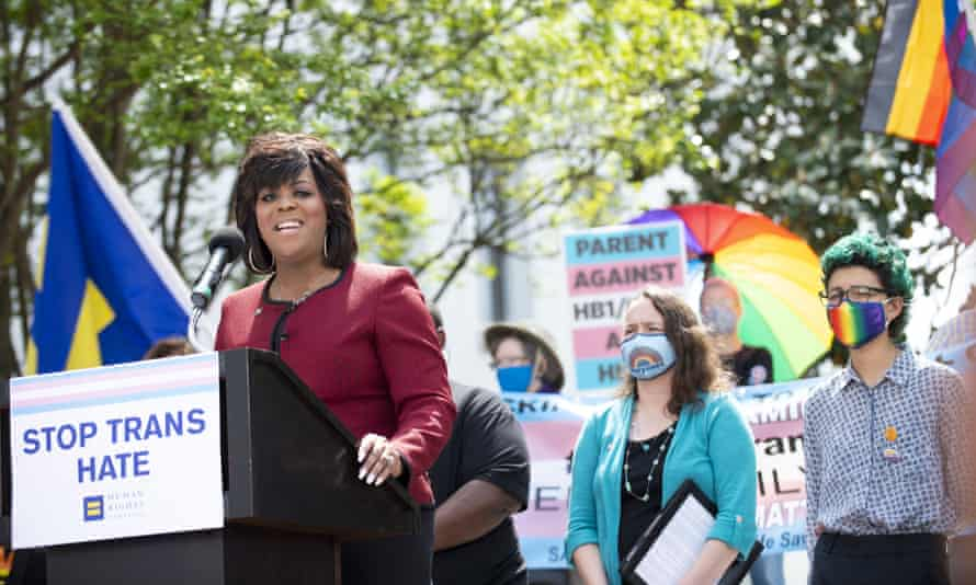 Carmarion D Anderson-Harvey, Human Rights Campaign Alabama state director, speaks on 30 March 2021 at the #LoveALTransYouth press conference in Montgomery, Alabama.
