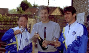 David Batty, left, Lee Chapman, centre, and Eric Cantona celebrate Leeds winning the title in April 1992. The former's departure to Manchester United seven months later was seen a huge turning point in the fortunes of both clubs