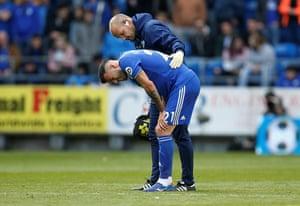 Camarasa receives medical attention before having to leave the pitch.