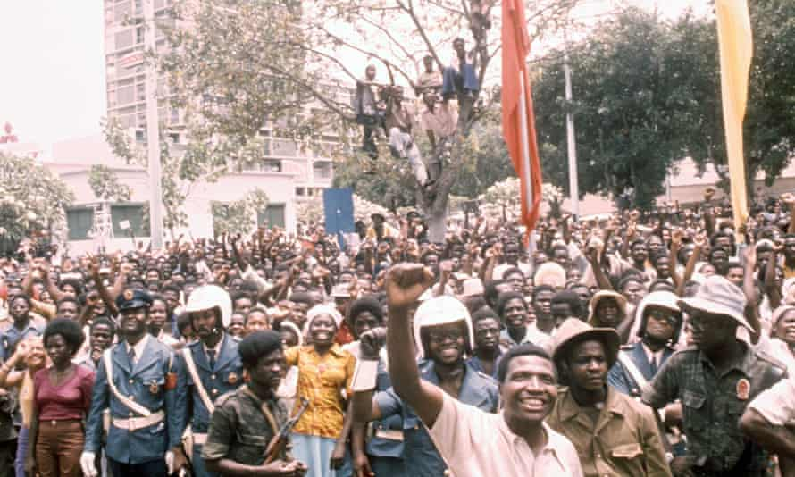 People in Angola celebrating independence from Portugal, 1975