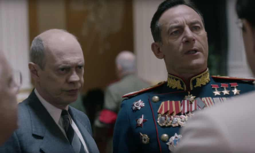 Back in the USSR: as Nikita Khrushchev, with Jason Isaacs in the satirical new movie, The Death of Stalin.