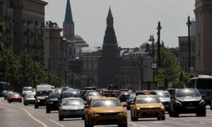 Cars return to Moscow's streets after the city's lockdown was lifted.