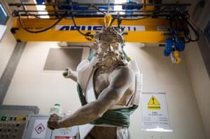 A sculpture of Neptune and Triton