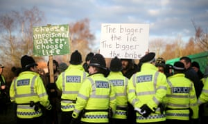 An anti-fracking protest camp at Barton Moss in Greater Manchester.