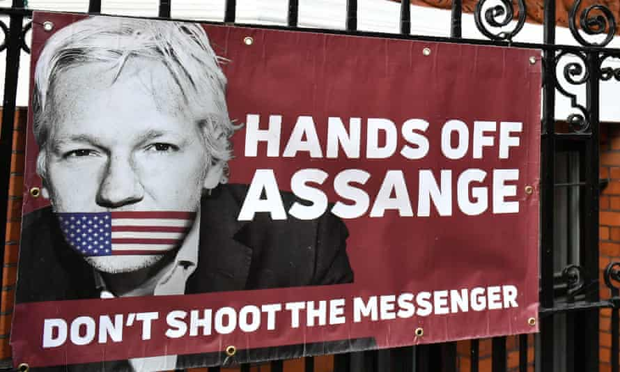 A pro-Assange banner outside the Ecuadorian embassy in London