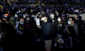 Pro-Hong Kong demonstrators gather in Sydney's Belmore Park on Sunday.