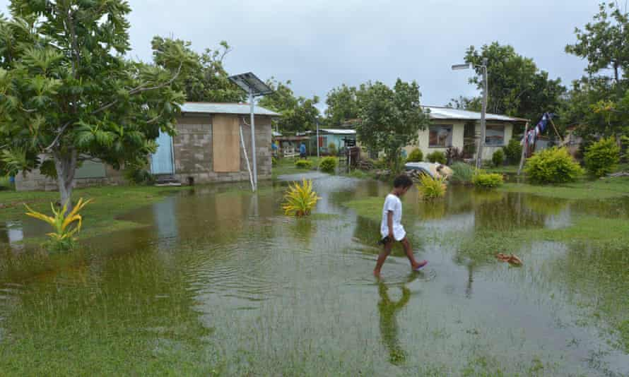 flooded village in Fiji