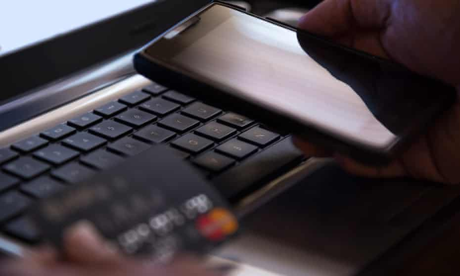 banking concept with credit care, phone and laptop