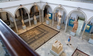 Courtyard and gallery space at Tunis's Bardo Museum.