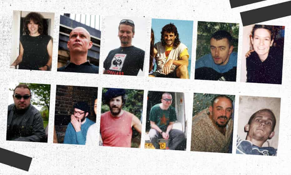 Top, from left: Bob Lambert, Peter Francis, Mark Kennedy, John Dines, Mark Jenner, 'Lynn Watson'. Bottom, from left: 'Marco Jacobs', Andy Coles, Mike Chitty, Jim Boyling, 'Carlo Neri', 'Rod Richardson'