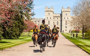 The King's Troop Royal Horse Artillery arrives at Windsor Castle in preparation for the gun salute for Prince Philip's funeral.
