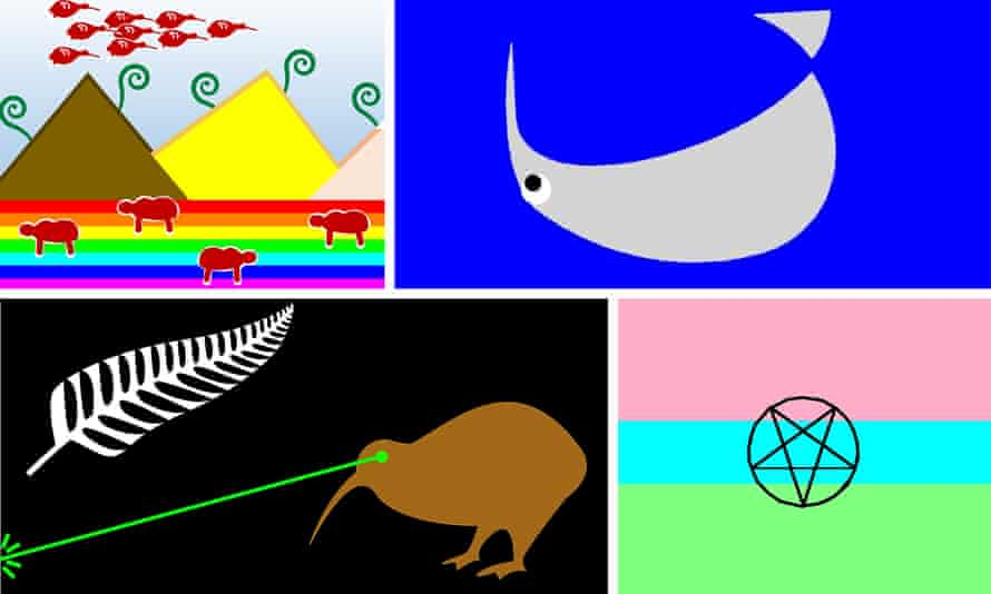 Alternative – rejected – suggestions for the new flag, designed as part of a competition run by the New Zealand government.