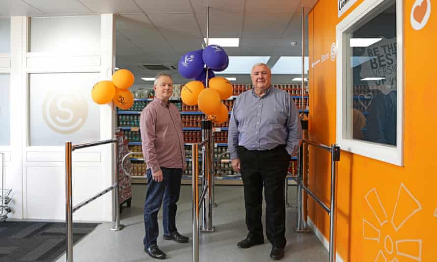 John Marren, right, founder of Community Shop, with manager Gary Stott in the Athersley store