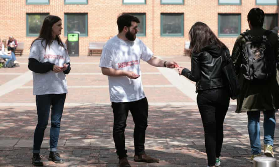 Students at Queen Mary, University of London, encourage others to vote.