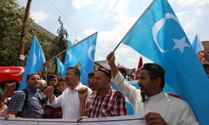 Uighurs protest about the deportations outside the Thai embassy in Ankara, Turkey.