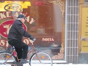 Winter cycling in Oulu, Finland.