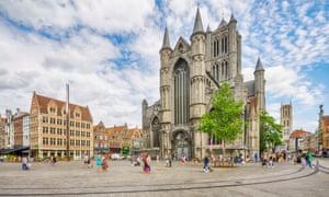 St Nicholas' Church and Korenmarkt in Ghent, Belgium.