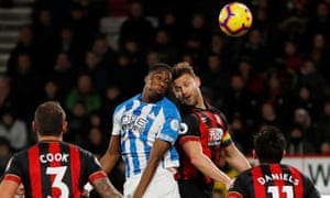 Huddersfield Town's Terence Kongolo scores their first goal