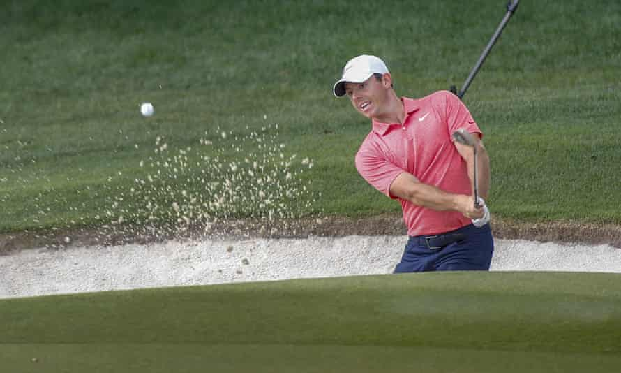 Rory McIlroy hits out of a trap on the 15th hole in the final round of the Wells Fargo Championship in North Carolina