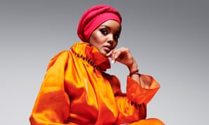 'The hijab is part of my identity': Halima Aden wears dress by yufash.com; headscarf by Halima x Modanisa, modanisa.com; and bracelet by togetherband.org.