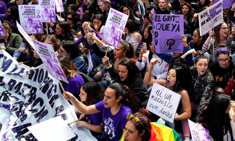 Protesters in Madrid on International Women's Day