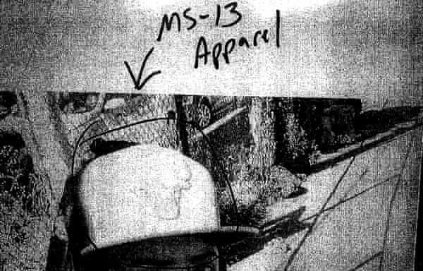 An example of a Facebook image used by police officers to identify alleged 'signs' of MS-13 connection.