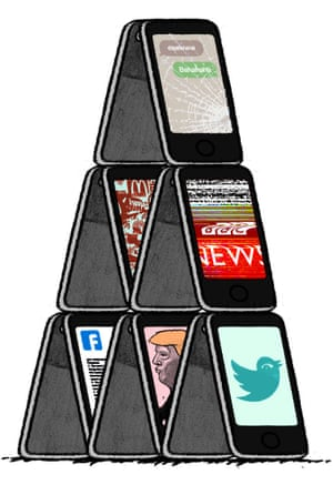 Illustration by David Foldvari of smartphones stacked like a house of cards