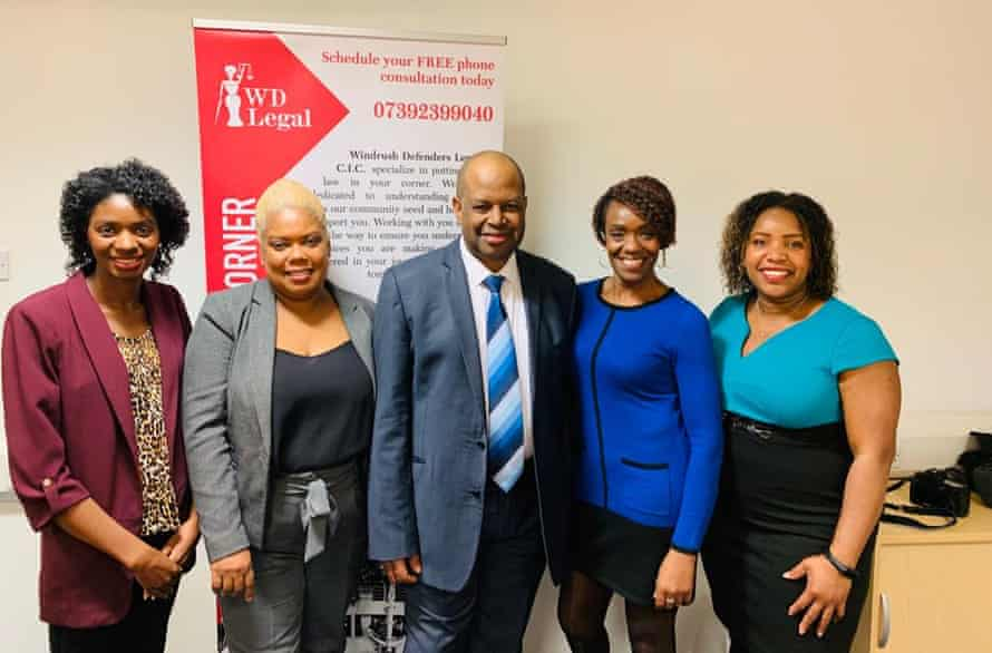 Anthony Brown with his colleagues at Windrush Defenders: Roshel Waite, Leonie Shaw-Brown, Lorna Downer and Tonika Stephenson