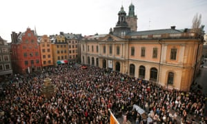 Protesters outside the Swedish Academy building in Stockholm on 19 April. The mainly female crowds were showing their support for former permanent secretary Sara Danius who had stepped down.
