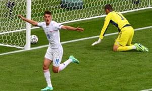 Patrik Schick of the Czech Republic celebrates scoring the opening goal.