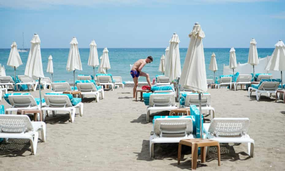 A beach in Torremolinos, Spain, on 9 May 2021, after the lifting of the state of emergency.