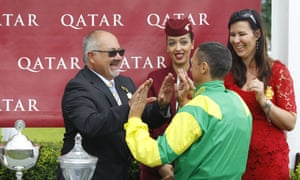 Dean Ivory and Frankie Dettori after Lancelot Du Lac had won the Qatar Stewards Cup at Goodwood.