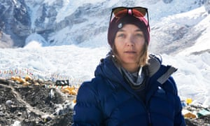 Victoria Pendleton at Mount Everest Base Camp during the trip that triggered a bout of hypoxia and led to her having thoughts of suicide.