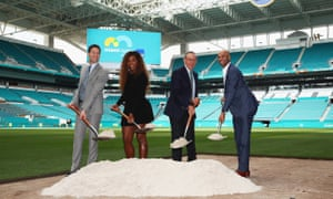 WME/IMG's Mark Sharpiro, Serena Williams, Miami Dolphins owner Stephen Ross, and James Blake at the Hard Rock Stadium to promote the Miami Open's new venue
