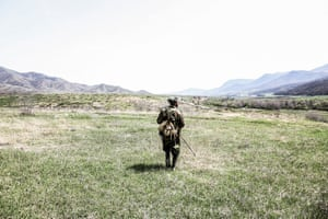 A shepherd in the fields of Agdam, Nagorno-Karabakh