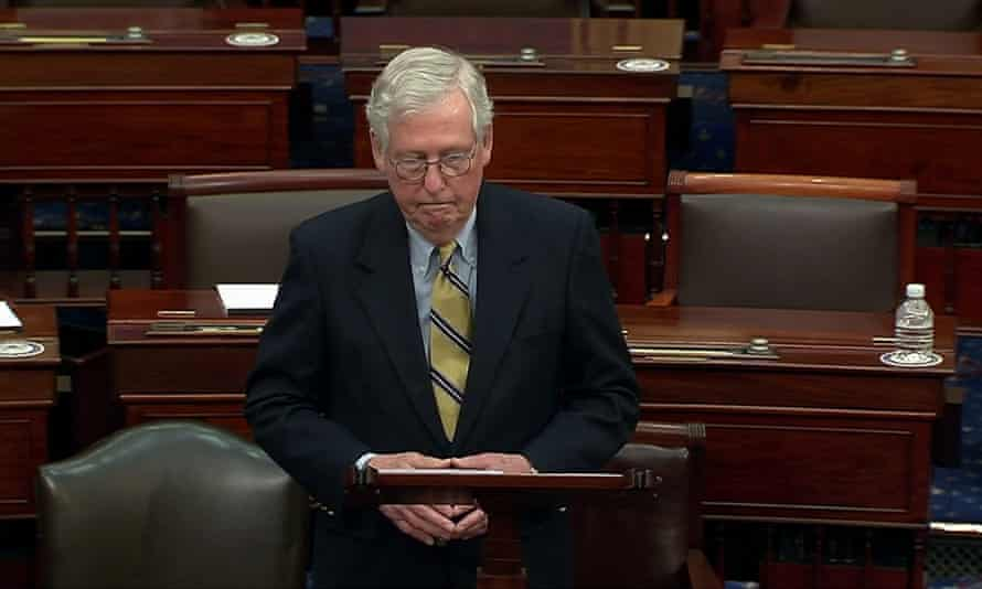 Mitch McConnell, the Senate minority leader, speaks after Trump is acquitted