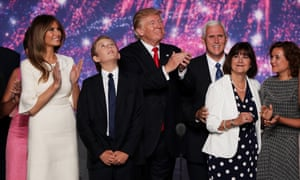 Charlotte Pence with her parents and the Trump family at the Republican National Convention on 21 July 2016 in Cleveland, Ohio.