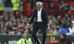 José Mourinho reacts in frustration during Manchester United's 2-1 win over Leicester at Old Trafford.