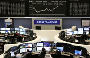 The German share price index DAX graph at the stock exchange in Frankfurt today