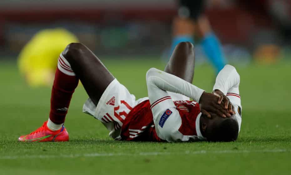Nicolas Pépé  looks dejected at the final whistle as Arsenal exit the Europa League