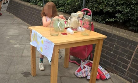 The lemonade stall before it was shut down by Tower Hamlets council in east London.
