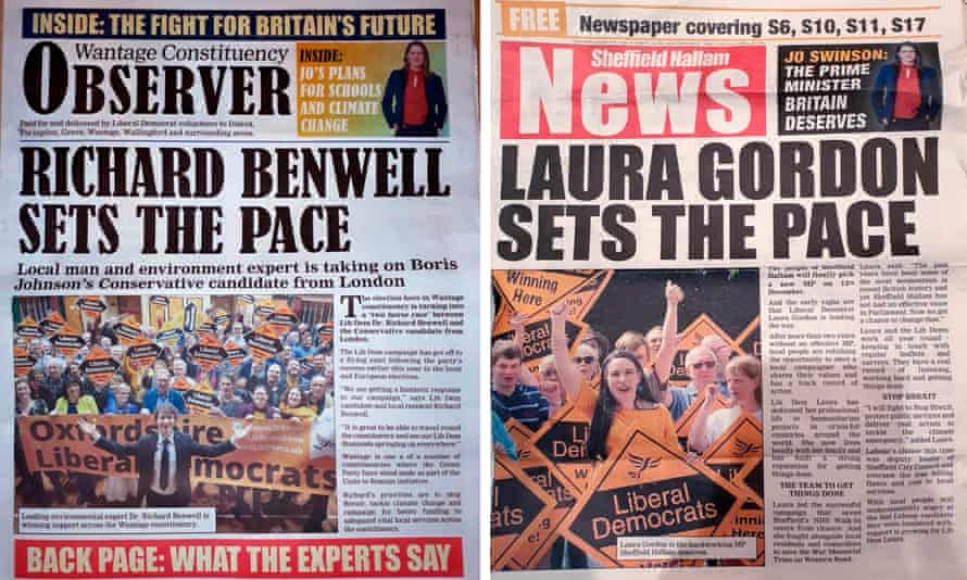 Liberal Democrat campaign leaflets designed to look like local newspapers.
