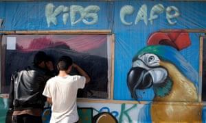 Children at the Calais refugee camp, 2016.