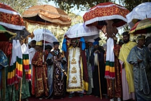 Orthodox priests carry a Tabot during a procession through Gondar