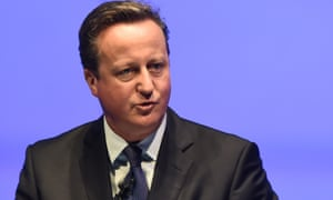 """""""Former British prime minister David Cameron delivers the keynote address during the World Travel and Tourism Conference in Bangkok on April 26, 2017.Cameron condemned Donald Trump's attempts to ban people from six Muslim countries from travelling to the United States, saying the policy \""""played into the hands\"""" of extremists while alienating Muslim moderates and allies. / AFP PHOTO / LILLIAN SUWANRUMPHALILLIAN SUWANRUMPHA/AFP/Getty Images"""""""